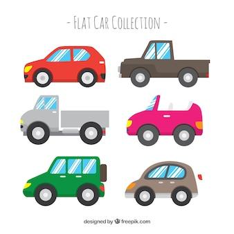 Vue latérale de six voitures plates simples