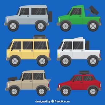 Vue latérale de six voitures