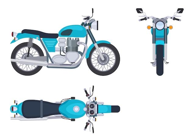 Vue latérale et supérieure de la moto