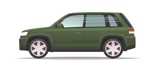 Vue latérale de la voiture suv verte sur fond blanc grand véhicule familial