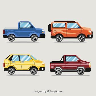 Vue latérale des voitures plates et brillantes