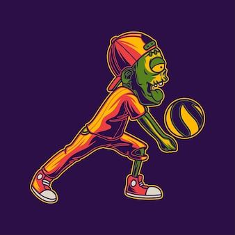 Vue latérale des zombies avec une illustration de volleyball de position de passage inférieure