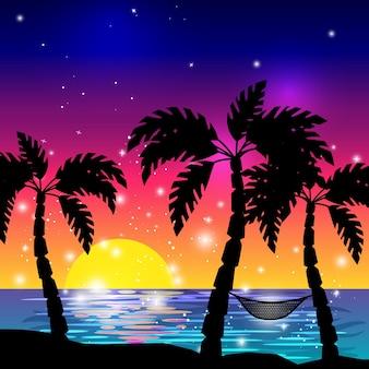 Vue sur la mer des caraïbes avec des silhouettes de palmiers et illustration vectorielle de coucher de soleil sur l'océan