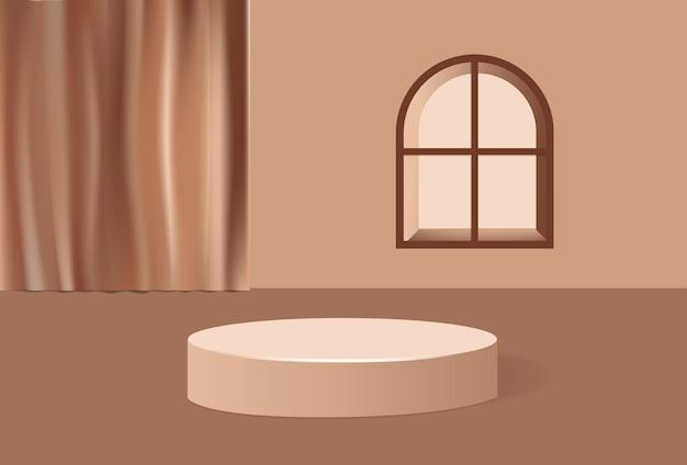 Vue minimaliste du podium d'affichage des produits d'intérieur