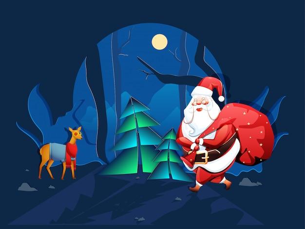 Vue de nuit arrière-plan avec arbres de noël, renne et père noël soulevant un sac rouge pour noël