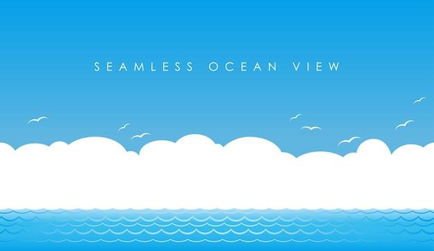 Vue sur l'océan sans soudure de vecteur