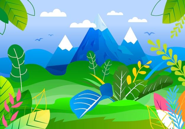Vue panoramique sur les montagnes et la vallée verte