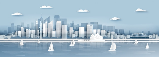 Vue panoramique de sydney, les toits de la ville d'australie et les monuments célèbres