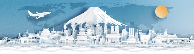 Vue panoramique des toits de la ville du japon avec des monuments célèbres dans le style de papier découpé.