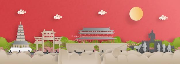 Vue panoramique sur les toits de la ville de xian avec des monuments célèbres de la chine dans un style papier découpé.