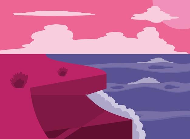 Vue paysage depuis le bord de mer coucher de soleil océan ciel