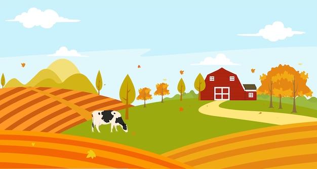 Vue de paysage du champ de ferme avec atmosphère naturelle