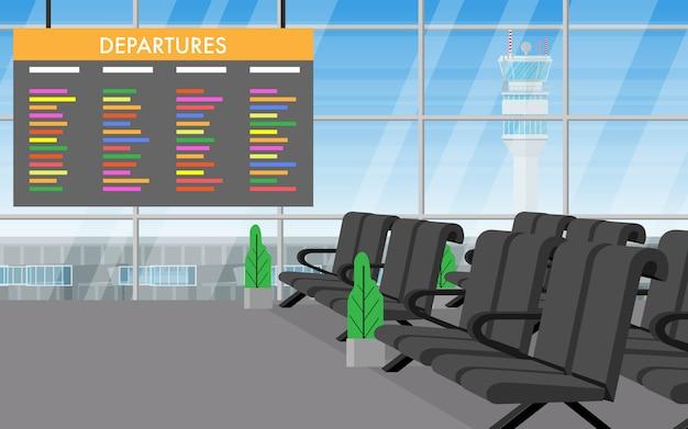 Vue de paysage à l'intérieur du terminal de l'aéroport
