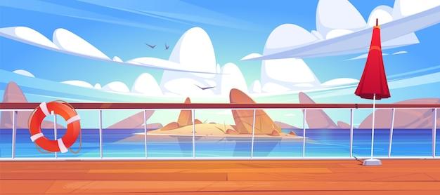 Vue sur le paysage marin depuis le pont des navires de croisière