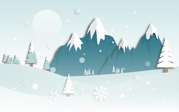 Vue de paysage de montagne d'hiver