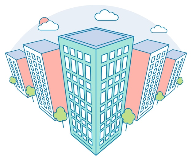 Vue sur le paysage de la ville avec de hauts bâtiments nuages arbres immeuble résidentiel moderne