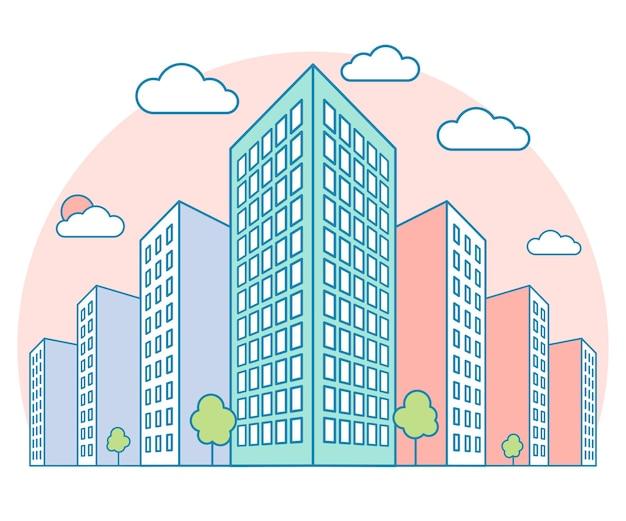 Vue sur le paysage de la ville avec de hauts bâtiments nuages arbres résidentiel et immeuble moderne vecto