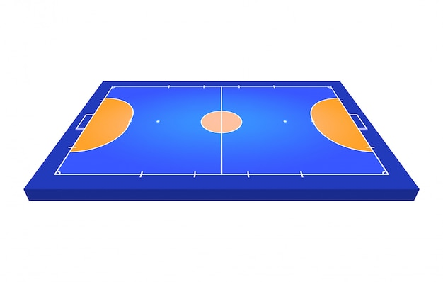Vue en perspective champ pour le futsal. contour orange d'illustration de champ de futsal de lignes.