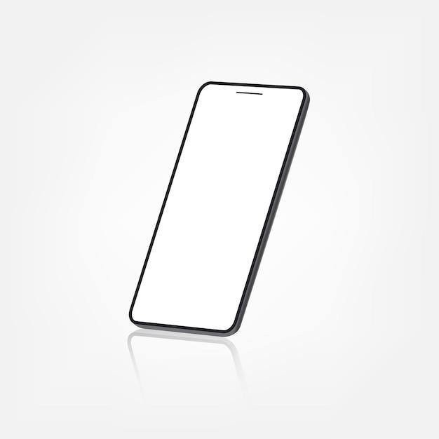 Vue en perspective d'écran blanc sans cadre de smartphone debout isolé sur fond blanc