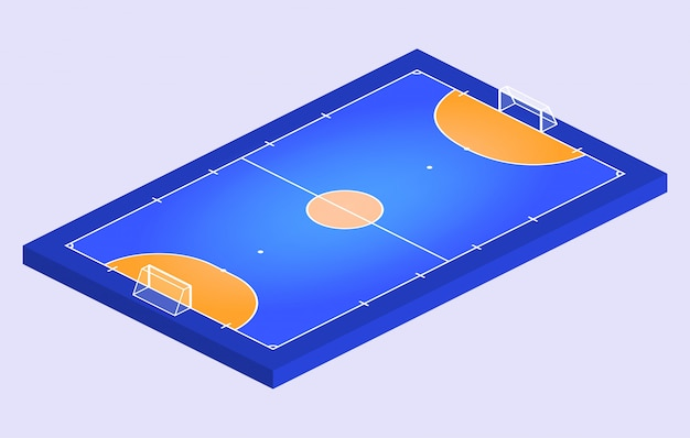 Vue en perspective isométrique champ pour le futsal. contour orange d'illustration de champ de futsal de lignes.
