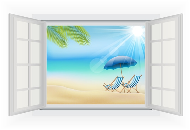 Vue sur la plage depuis la fenêtre ouverte