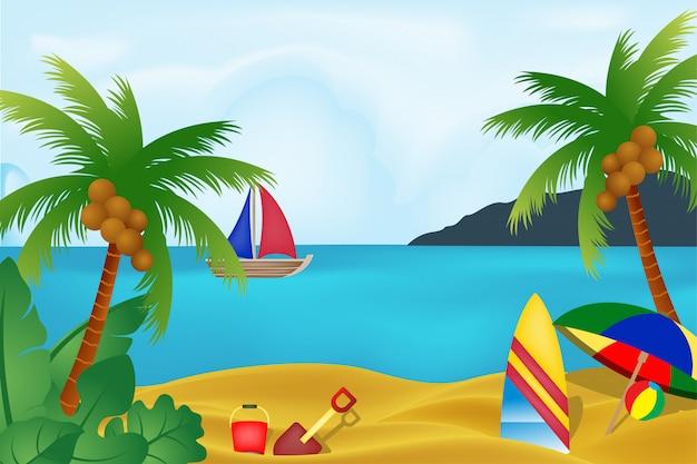 Vue sur la plage avec élément de conception de vacances d'été