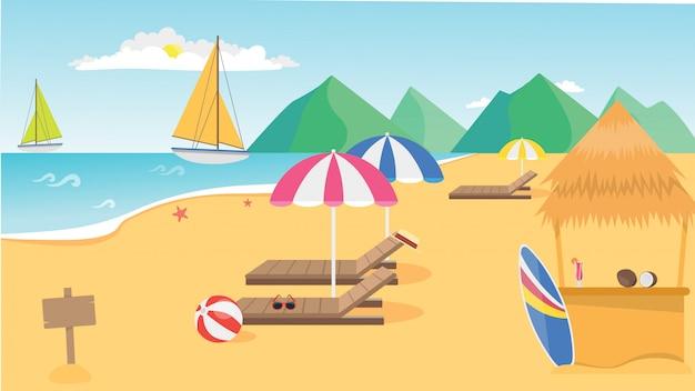 Vue sur la plage d'été