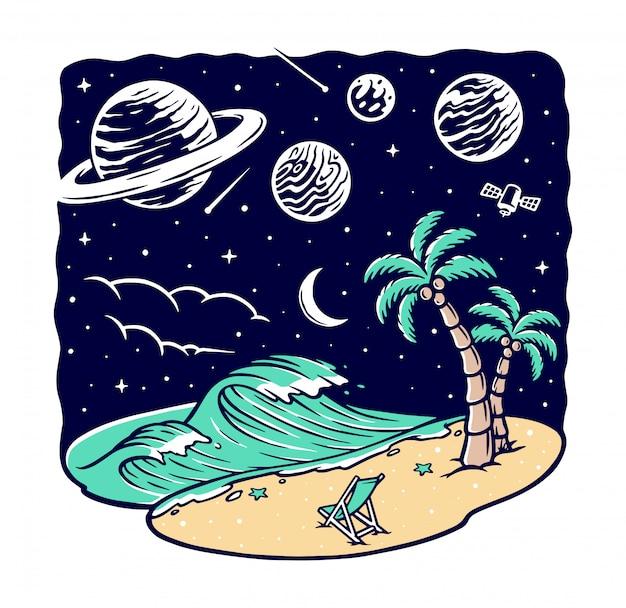 Vue sur la plage la nuit illustration