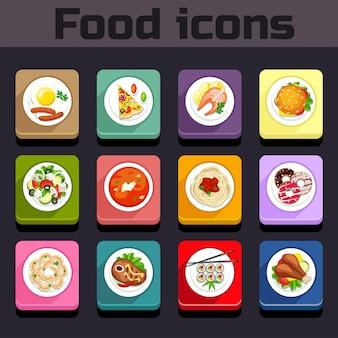 Vue de plan de repas d'icônes