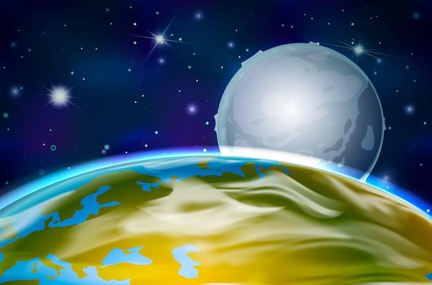 Vue sur la planète terre et la lune depuis l'orbite sur fond d'espace avec des étoiles brillantes et des constellations