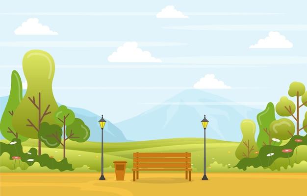 Vue de printemps d'été dans le parc de la ville en plein air paysage plat illustration