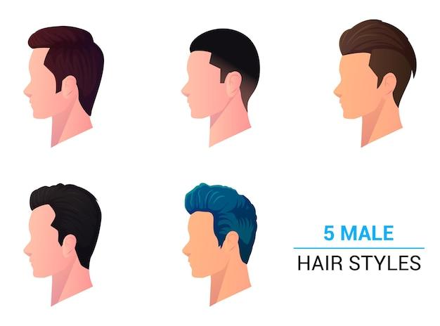 Vue de profil des hommes coupe de cheveux et vue latérale de la tête, collection de styles de cheveux masculins modernes