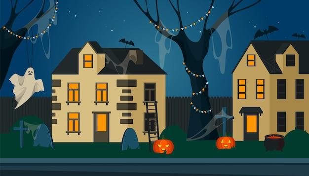 Vue de la rue fantastique décorée pour halloween
