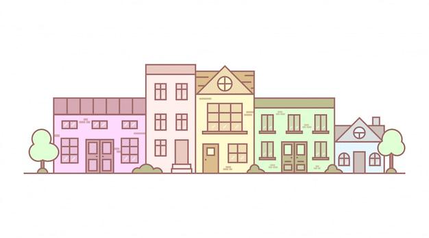 Vue de la rue urbaine dans le dessin au trait