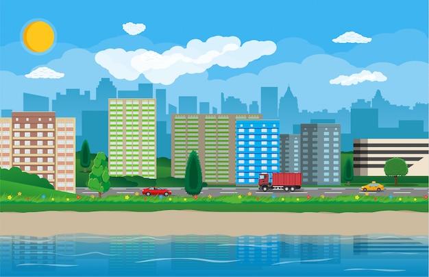 Vue sur la ville moderne. bord de l'eau, rivière, remblai