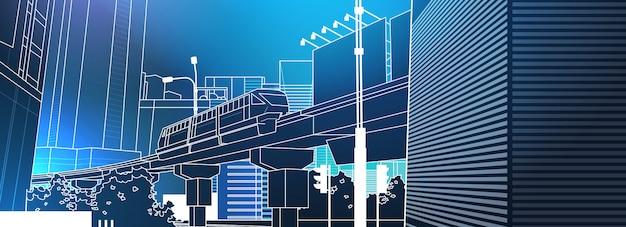 Vue sur la ville moderne avec pont ferroviaire