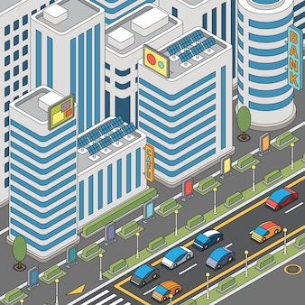 Vue Sur La Ville Moderne Avec Des Voitures En Mouvement Et Des Bâtiments De Grande Hauteur Vecteur gratuit
