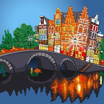 Vue sur la ville de nuit de vecteur du canal et du pont d'amsterdam