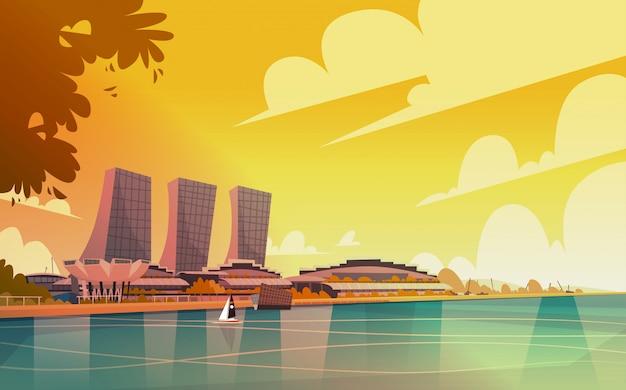 Vue sur la ville de singapour gratte-ciel fond skyline cityscape