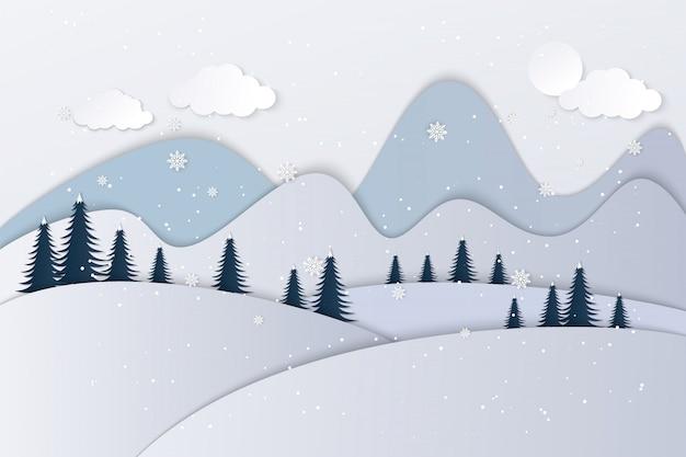 Vues de la maison en hiver. papier d'art et artisanat