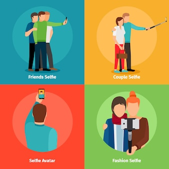 Vues de mode selfie pour application mobile photo