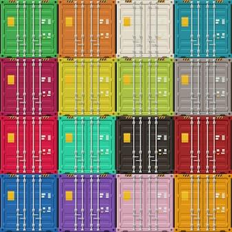 Vues des portes des conteneurs de fret