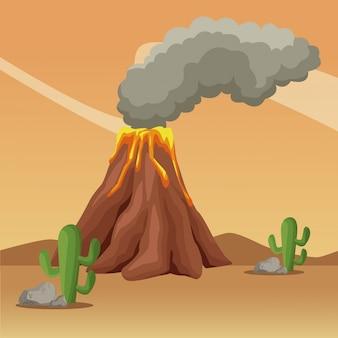 Vulcan au dessin animé de paysage désertique