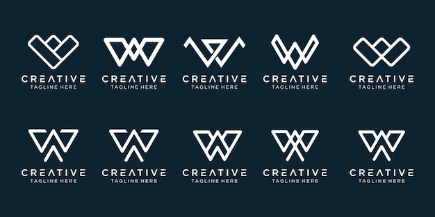 W logo icon set design pour les entreprises de la mode sport finance simple