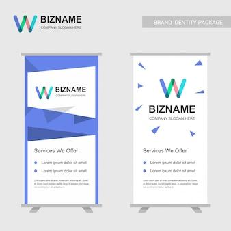 W logo et modèle de conception de bannière