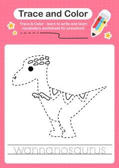 W traçage du mot pour les dinosaures et coloriage de la feuille de calcul avec le mot wannanosaurus
