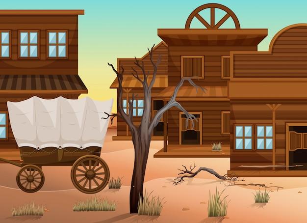 Wagon et nombreux magasins dans l'ouest de la ville