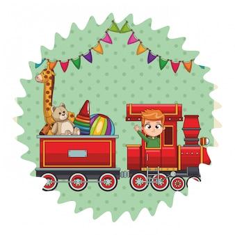 Wagon de train avec des jouets
