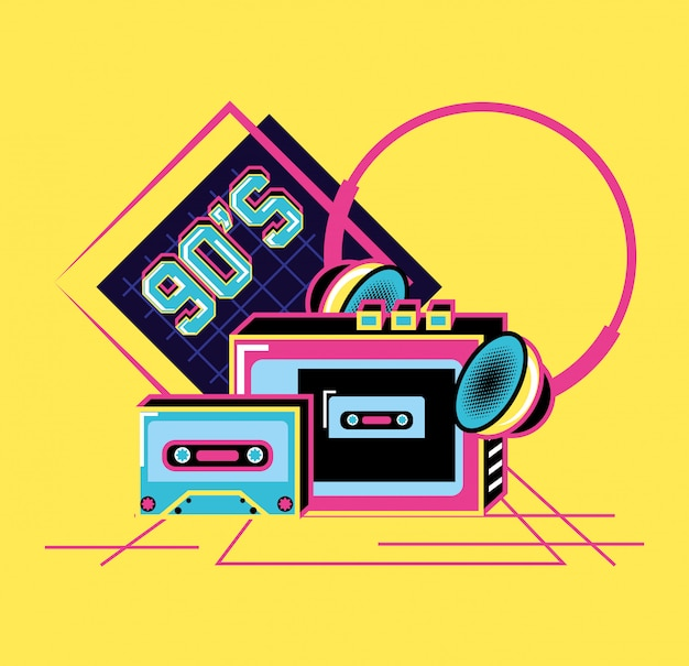 Walkman avec casque et cassette de rétro années 90