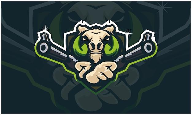 Warthog wild boar head holding two gun,